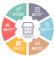 Accommodation amenities infographics with icons vector image vector image
