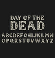 antique old font with skeletons for posters day vector image