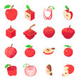 apple logo icons set isometric style vector image