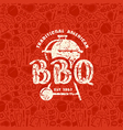 Barbecue seamless pattern and emblem vector image vector image