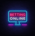 betting online neon sign gambling slogan casino vector image vector image