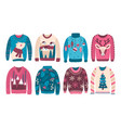 bundle ugly christmas sweaters or jumpers vector image