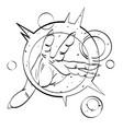 cartoon image of hand casting spell vector image
