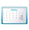 cartoon January calendar vector image vector image
