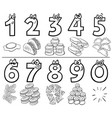 cartoon numbers set with food objects color book vector image vector image