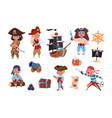 cartoon pirates funny pirate captain and sailor vector image