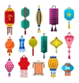 Chinese lanterns light flat style vector image vector image