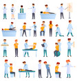 chiropractor icons set cartoon style vector image vector image