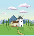 colorful background with daytime landscape of vector image vector image