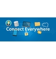 connect everywhere anywhere working mobile vector image vector image