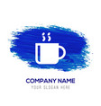 cup of tea icon - blue watercolor background vector image