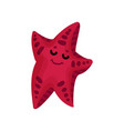 cute funny cartoon starfish character in burgundy vector image vector image