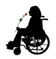disabled person in wheelchair with red rose vector image vector image