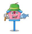 fishing wooden bird house on a pole cartoon vector image