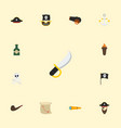 flat icons corsair armature vessel and other vector image vector image