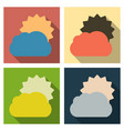 flat sun and cloud weather web icon with long vector image vector image