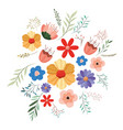 flower and leafs decorative icon vector image