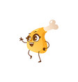 funny fried chicken leg drumstick character vector image vector image