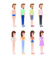 girl and guy in summer clothes stands in profile vector image