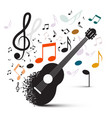 guitar with notes on white background vector image vector image