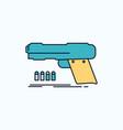 gun handgun pistol shooter weapon flat icon green vector image