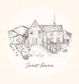 hand drawn cozy village vintage house farm design vector image