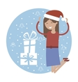 Happy Girl in Jumping for Joy Near Xmas Gifts vector image vector image