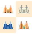 karnak temple icon set in flat and line style vector image