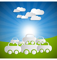 Landscape Background With Paper Cars and Clouds on vector image vector image