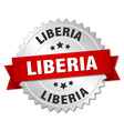 Liberia round silver badge with red ribbon vector image vector image