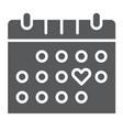 love calendar glyph icon romance and love vector image