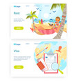 man drinks cocktail in hammock on tropical beach vector image vector image