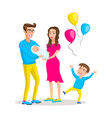 mom dad boy and bagirl colored modern flat vector image vector image