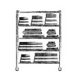 monochrome blurred silhouette of rack with pile vector image vector image