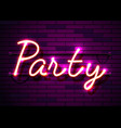 neon sign word party on dark background vector image vector image