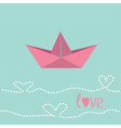 Origami paper boat Love card vector image