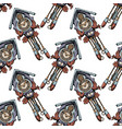 pattern with old cuckoo clock vector image vector image