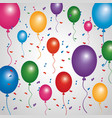 poster multicolored balloons flying confetti vector image vector image
