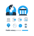 Public notary services icons set law firm man vector image vector image