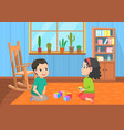 pupils playing toys elementary school vector image vector image