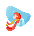 redhead girl in scarf enjoying holidays vector image vector image
