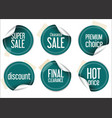 round dark blue sale stickers on white background vector image vector image