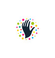 round logo with image black hands colorful vector image vector image