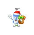 santa handsanitizer cartoon with sacks gifts vector image vector image