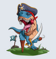 scary pirate dinosaur t-rex roaring for halloween vector image