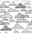 Seamless pattern with doodle clouds Black and vector image