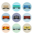 set of icons freight rail wagons vector image