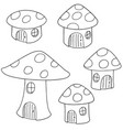 set of mushroom house vector image vector image