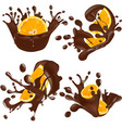 set of realistic chocolate splashes with orange vector image vector image