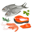 set of sea foods icon in flat style fresh fish vector image